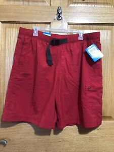 Columbia Omni-Shade Men's Large Red Belted Swim Trunks Mesh Lined Shorts ~ NWT