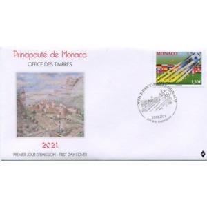 Monaco 2021 FOOTBALL europe championship soccer balloon flag france spain 1v FDC