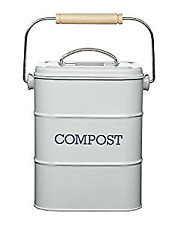Kitchen Craft Retro Style Grey Lidded Compost Bucket - Kitchen Accessories