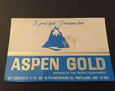 Aspen Gold Beer Label Blitz Reinhard Portland Oregon 1970s Unused