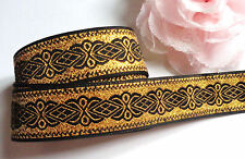 Jacquard Ribbon, 1 inch wide Black - Gold  selling by the yard