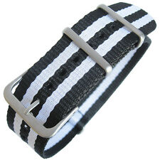 22mm Hadley-Roma MS4230 White Black Stripe Nylon Military G10 Watch Band Strap