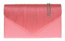 New Satin Pleated Simple Plain Clutch Bag Evening Designer Handbag Shoulder Prom