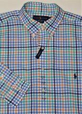 New $98 Ralph Lauren Long Sleeve Orange / Blue / Green Cotton Poplin Shirt / LT