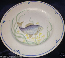 "FITZ & FLOYD JAPAN LA MER DINNER PLATE 10 1/4"" BLUE & PURPLE FISH BLUE BAND"