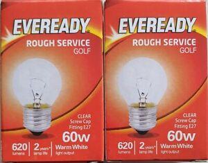 2 X Eveready 60W ES G45 Golfball Mini Globe Clear 620LMS Rough Service