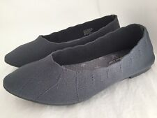SKECHERS Cleo Bewitch Charcoal Gray Memory Foam Flats Shoes Size 7.5