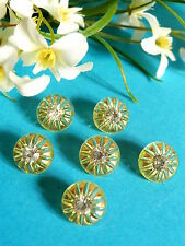 """443B/Lovely Buttons """" Constellation """" Yellow Pale Heart Of Rhinestone 6 Buttons"""