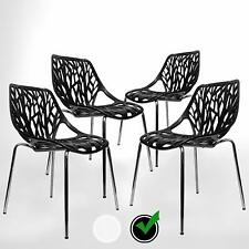 Set of 4 Forest Birds Nest Style Black Modern Dining Chair Stackable Chrome legs