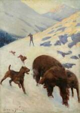 Man Shooter Winter, Airdale Dogs Encounter Bears by Frank Stick