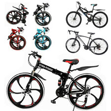26in Folding Mountain/Race Bike 21 Speed Bicycle Full Suspension MTB Bikes