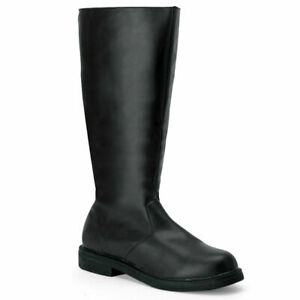 Mens Captain Pirate Super hero Black Knee High Costume Boots