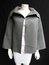 Valentino Boutique Women Gray Wool Fashion Caban Dressy Jacket Gold Studs 10/44