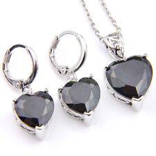 Love Heart Gift 2 pcs 1 Lot Black Onyx Gemstone Silver Dangle Hook Earrings