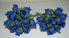 Mini Silk Rose Buds On Wires 2 Bundles of 12 Individual Roses = 24pc Royal Blue