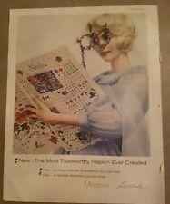 1960 Modess feminine hygiene sanitary napkins blonde reading news ad