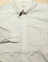 LL Bean Wrinkle Resistant Button Down Long Sleeve Shirt Cotton Plaid Ivory L