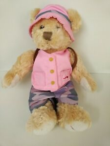 """British Airways 10"""" Teddy Bear Amy Pink Hat And Rucksack Backpack by Russ Berrie"""