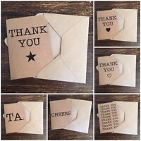 Thank you cards, Kraft card, 10 Pack, Vintage Rustic Country Chic Style