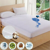 Waterproof Queen King Mattress Cover Soft Terry Cloth Surface Bed Protector Pad