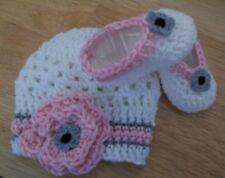 Handmade Crochet Baby Girl Hat Booties Set White/ Pink Gray  Newborn 3 Months