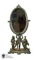Art Nouveau Solid Brass Pedestal Vanity Mirror Figural Irish Scene Lions Ornate