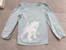 Baby Gap Girl Top Shirt Size 5 Blue With Polar Bear And Snowflakes