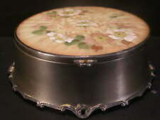 19c Victorian Mt Washington Crown Milano Glass Pairpoint Silver Dresser Box Dish
