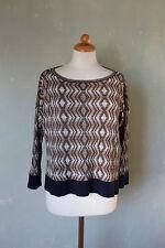 CLUB MONACO pull shirt large noir beige marron Taille 38 M (s24)