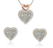 10K White Gold White Diamond Heart Pendant & Earring Set .40ct Rose Gold Accent