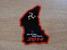 X1 Isle of Man TT Races corso MAPPA ADESIVO NERO / ROSSO 105mm HIGH - 2014