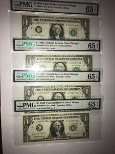 1 dollar bill 1963 star note 4 consecutive bills