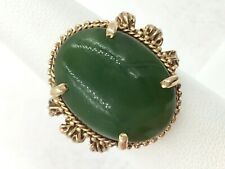 14k Yellow Gold Apple Jade Ring Size 6.75