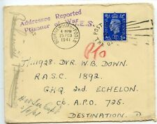 GREAT BRITAIN 1941.2.25 cover / Dvr Down/ Destination D - Addresee Reported/ POW