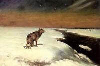 Oil painting alfred von kowalski wierusz - the wolf in winter landscape canvas