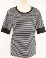 POLO RALPH LAUREN Women's Black/White Striped T-shirt Top, size LARGE