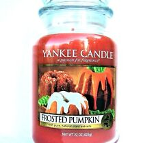 """Yankee Candle Retired """"FROSTED PUMPKIN""""~ Large 22 oz ~ WHITE LABEL~ RARE ~ NEW"""