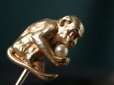 ANTIQUE FRENCH VICTORIAN NOUVEAU GOLD MONKEY PEARL HAT PIN TIE STICK comb shipp