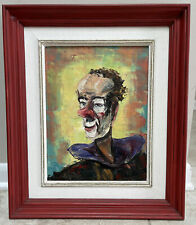 oil on canvas Knife painting framed Clown By R Lorotte Vintage