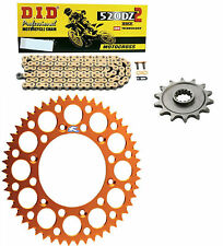 DID gold race chain & 13t/48t Renthal orange sprocket kit KTM 450EXC-F 2006-2016