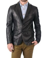 Men's Stylish Genuine Lambskin Real Leather Two Button Blazer Coat MB 39