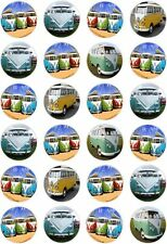 24 VW Campervan Camper Cupcake Fairy Cake Toppers Edible Rice Wafer Paper