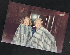 Old Vintage Photograph Two Women Wrapped in Matching Fur Blankets