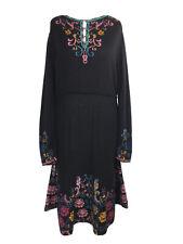 IVKO Dress Intarsia Floral Black Wool Size 42 UK10