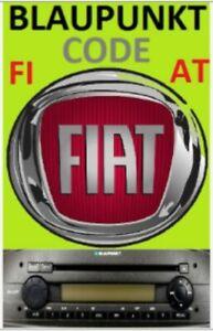 FIAT Radio Code Unlock provided PUNTO PANDA DUCATO DOBLO BLAUPUNKT Security Code