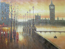 London Eye Grande Peinture à l'Huile Toile Anglais British Original City Art Moderne