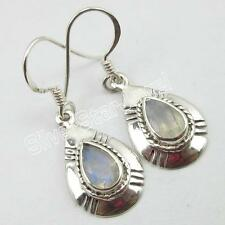 "1.3"" ! Online Jewelry Store 925 Solid Silver Rainbow Moonstone Earrings"