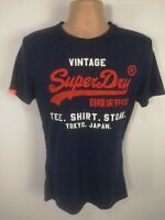 MENS SUPERDRY BLUE CREW NECK COTTON SHORT SLEEVED TOP T-SHIRT SIZE SMALL S
