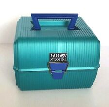 Vintage Sassaby Make-Up Train Case Green Teal Blue Trays Mirror Model 102 USA