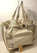 Michael Kors Ivory Leather Belted Tote Satchel Crossbody Shoulder Purse Bag
